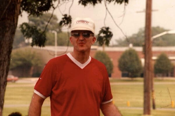 Dr. Buzby's father outdoors during the summer, photo