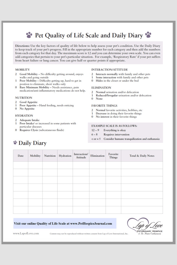 Pet Quality of Life Scale and Daily Diary with a chart to help dog owners assess their dog's condition, image