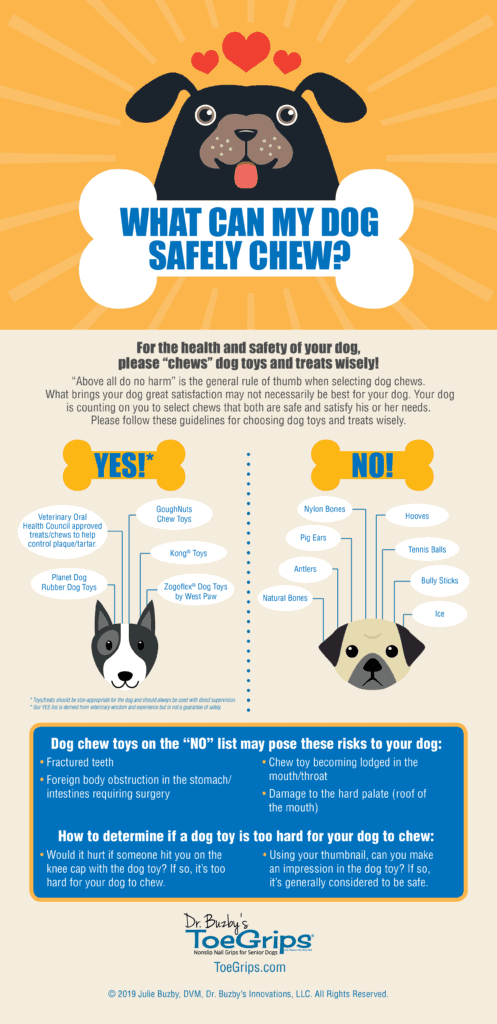 infographic with list of safe chew toys for dogs